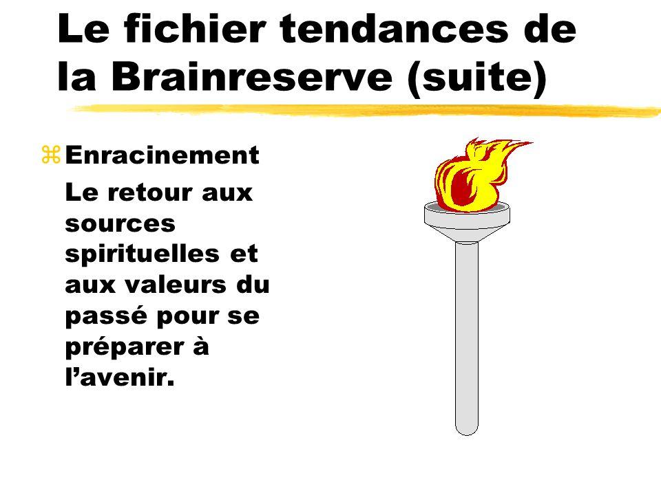 Le fichier tendances de la Brainreserve (suite) zEnracinement Le retour aux sources spirituelles et aux valeurs du passé pour se préparer à lavenir.