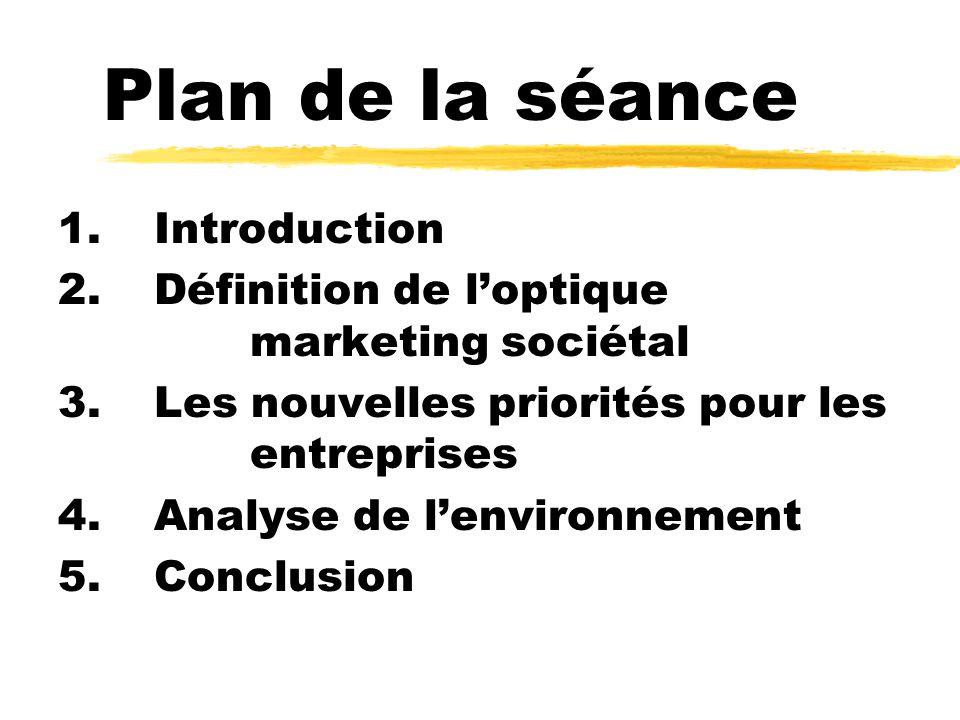 Plan de la séance 1.Introduction 2.Définition de loptique marketing sociétal 3.Les nouvelles priorités pour les entreprises 4.Analyse de lenvironnement 5.Conclusion