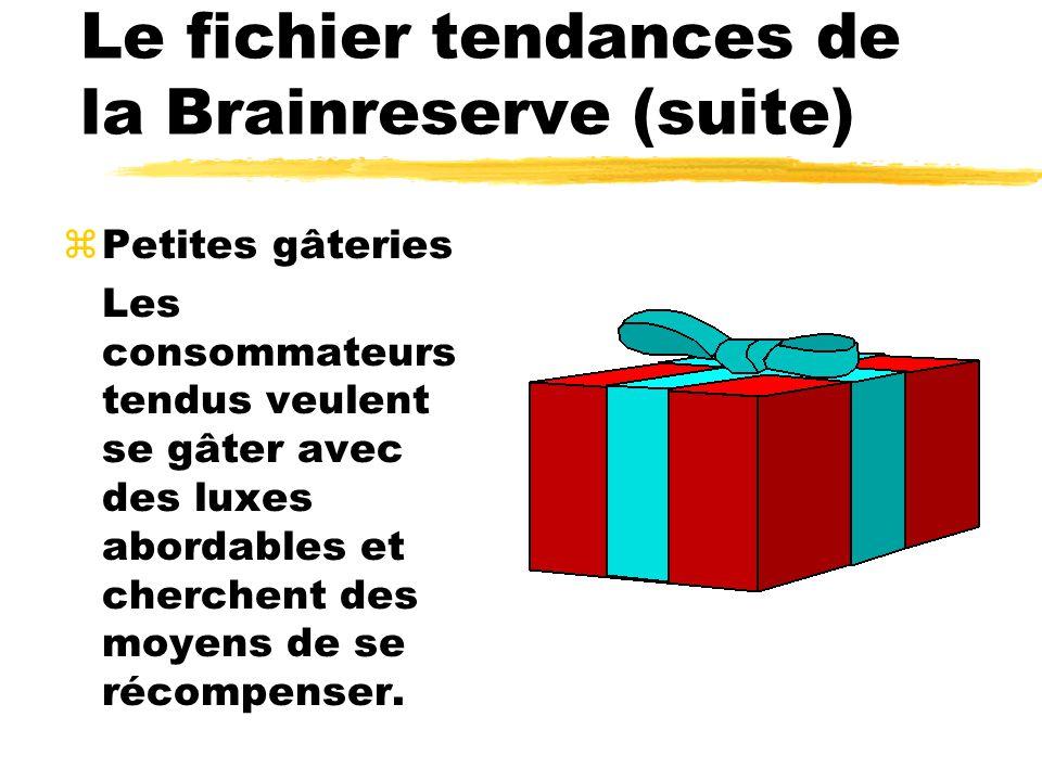 Le fichier tendances de la Brainreserve (suite) zPetites gâteries Les consommateurs tendus veulent se gâter avec des luxes abordables et cherchent des moyens de se récompenser.