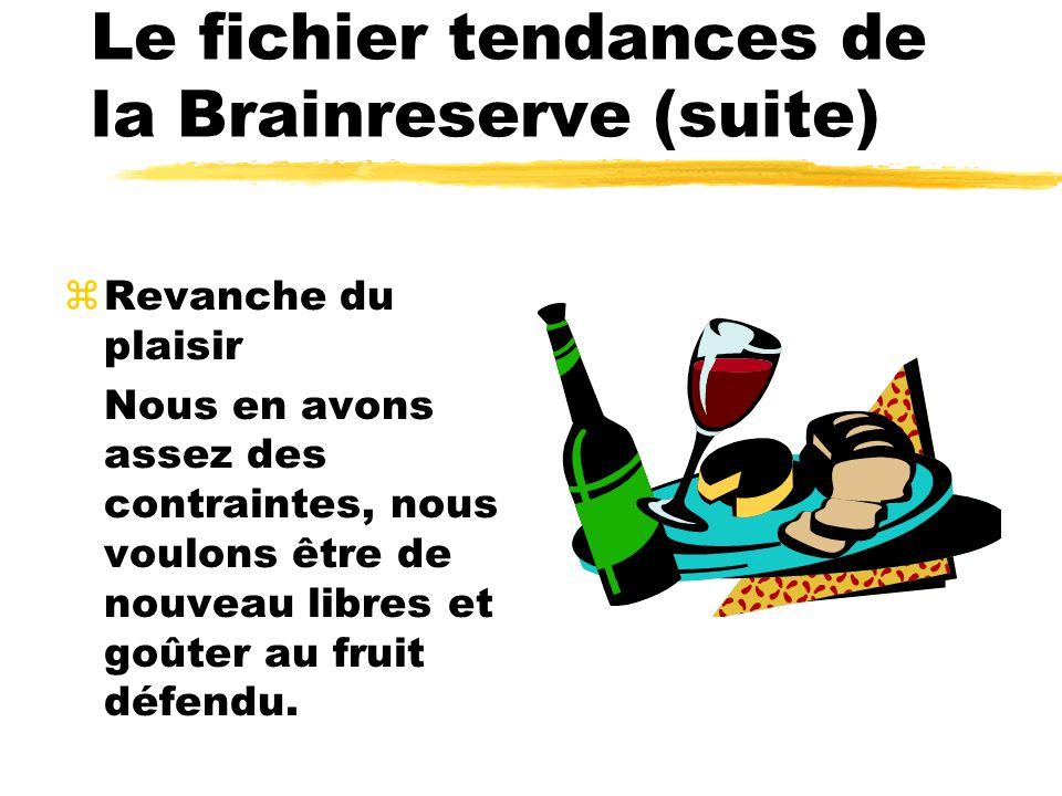 Le fichier tendances de la Brainreserve (suite) zRevanche du plaisir Nous en avons assez des contraintes, nous voulons être de nouveau libres et goûter au fruit défendu.
