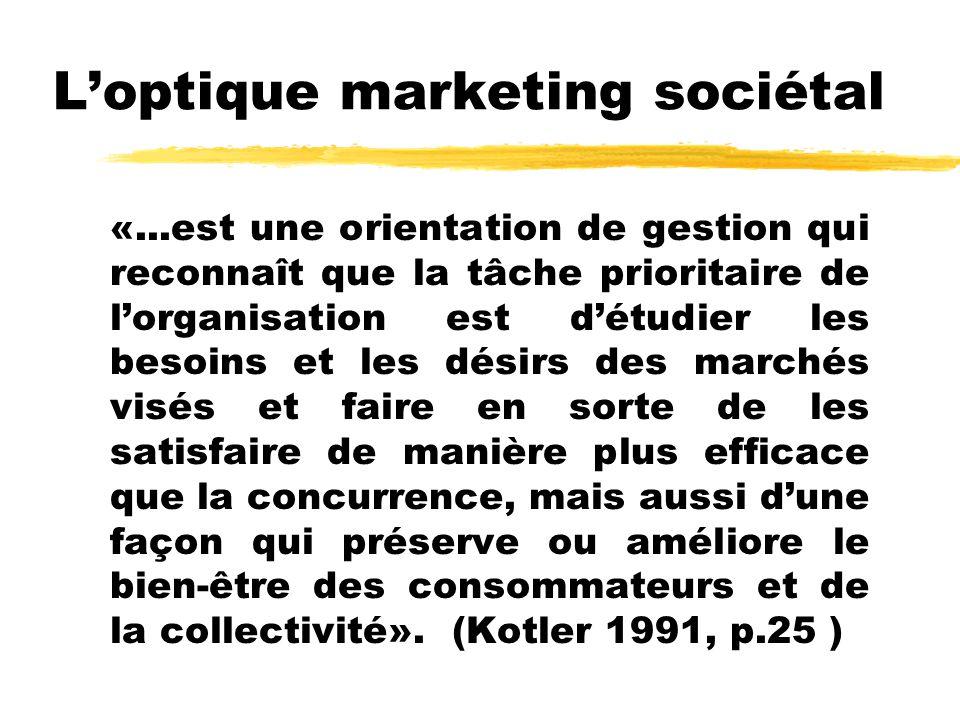 Loptique marketing sociétal «...est une orientation de gestion qui reconnaît que la tâche prioritaire de lorganisation est détudier les besoins et les désirs des marchés visés et faire en sorte de les satisfaire de manière plus efficace que la concurrence, mais aussi dune façon qui préserve ou améliore le bien-être des consommateurs et de la collectivité».