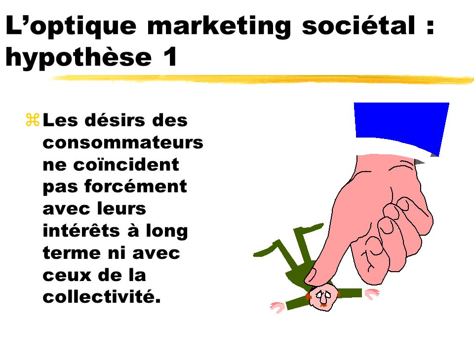 Loptique marketing sociétal : hypothèse 1 zLes désirs des consommateurs ne coïncident pas forcément avec leurs intérêts à long terme ni avec ceux de la collectivité.