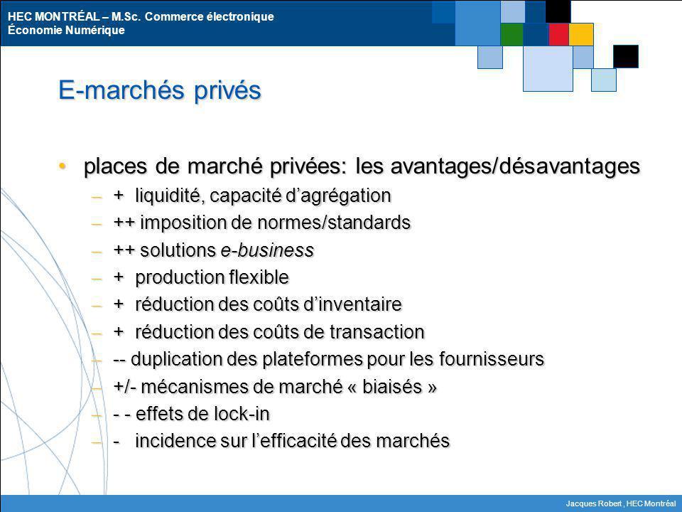 HEC MONTRÉAL – M.Sc. Commerce électronique Économie Numérique Jacques Robert, HEC Montréal E-marchés privés places de marché privées: les avantages/dé