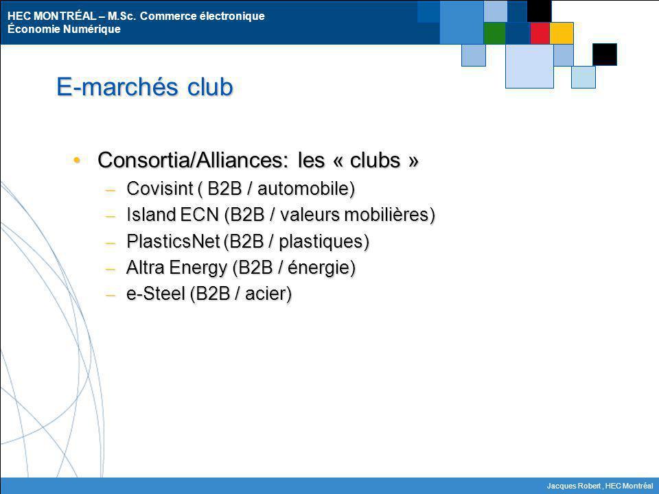 HEC MONTRÉAL – M.Sc. Commerce électronique Économie Numérique Jacques Robert, HEC Montréal E-marchés club Consortia/Alliances: les « clubs »Consortia/