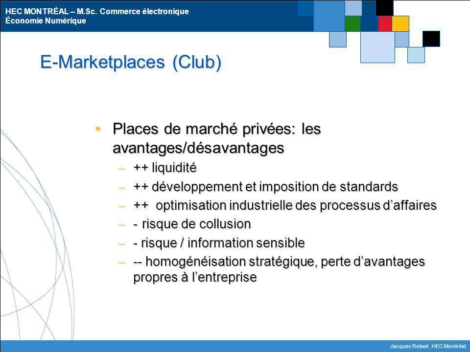 HEC MONTRÉAL – M.Sc. Commerce électronique Économie Numérique Jacques Robert, HEC Montréal E-Marketplaces (Club) Places de marché privées: les avantag