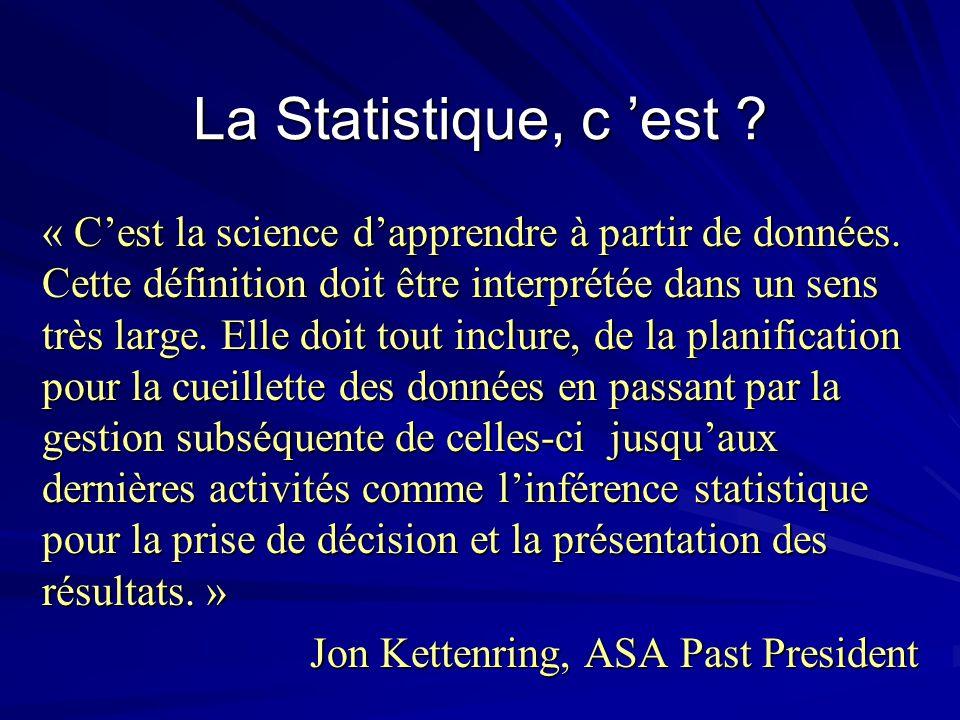 La Statistique, c est ? « Cest la science dapprendre à partir de données. Cette définition doit être interprétée dans un sens très large. Elle doit to