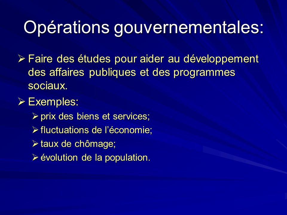 Opérations gouvernementales: Faire des études pour aider au développement des affaires publiques et des programmes sociaux. Faire des études pour aide