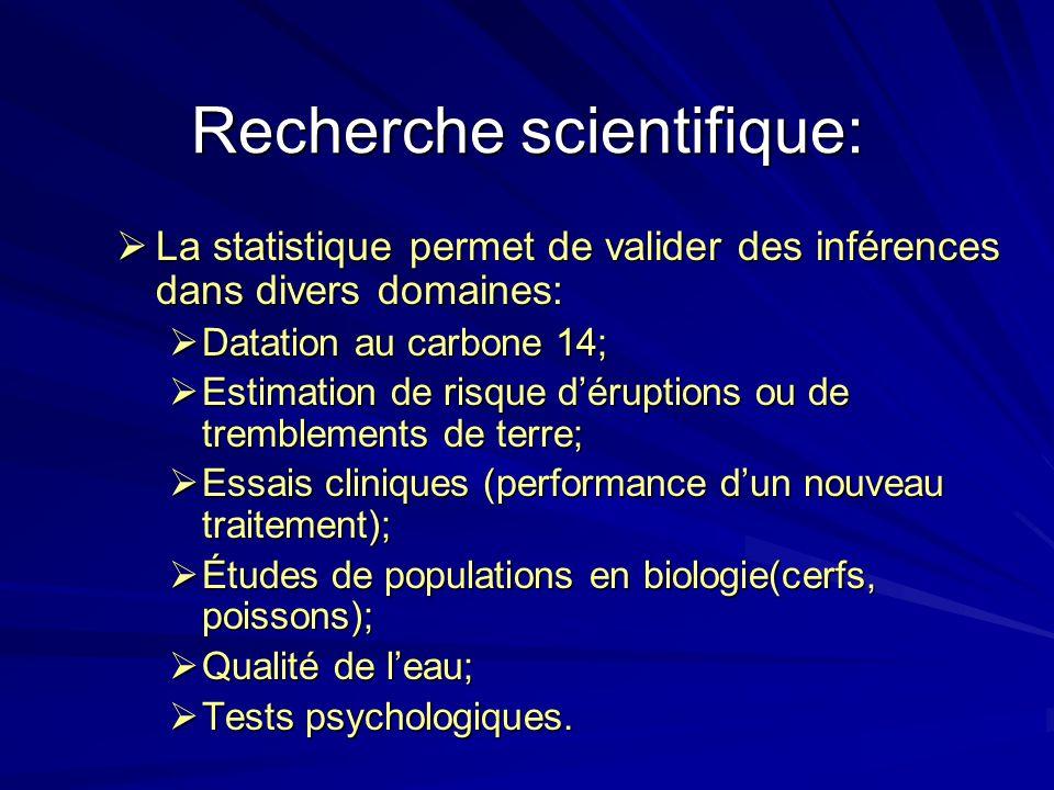 Recherche scientifique: La statistique permet de valider des inférences dans divers domaines: La statistique permet de valider des inférences dans div