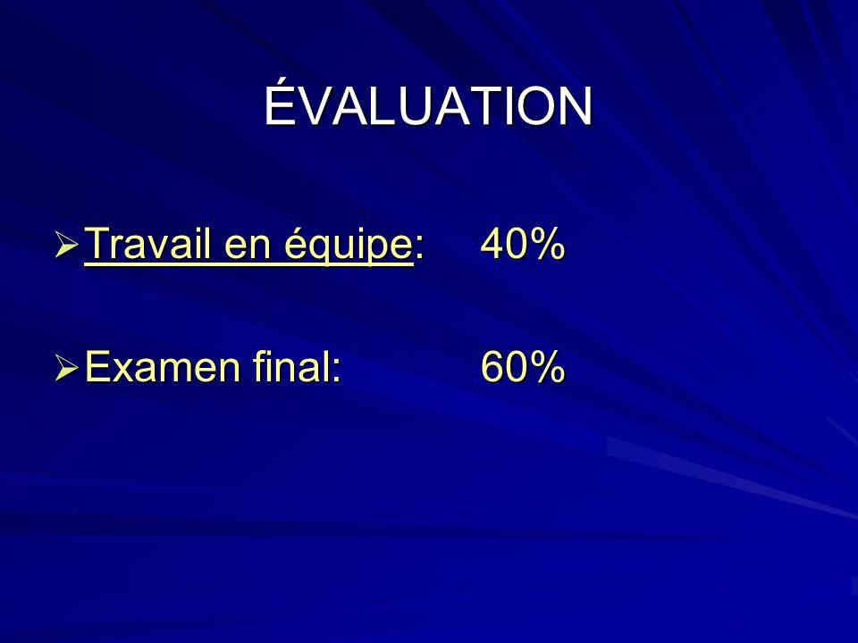 ÉVALUATION Travail en équipe:40% Travail en équipe:40% Examen final:60% Examen final:60%