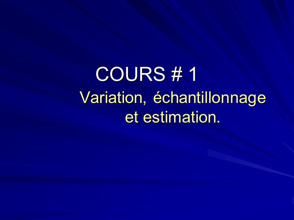 COURS # 1 Variation, échantillonnage et estimation.