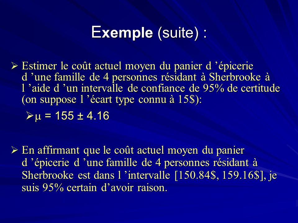 E xemple (suite) : Estimer le coût actuel moyen du panier d épicerie d une famille de 4 personnes résidant à Sherbrooke à l aide d un intervalle de co