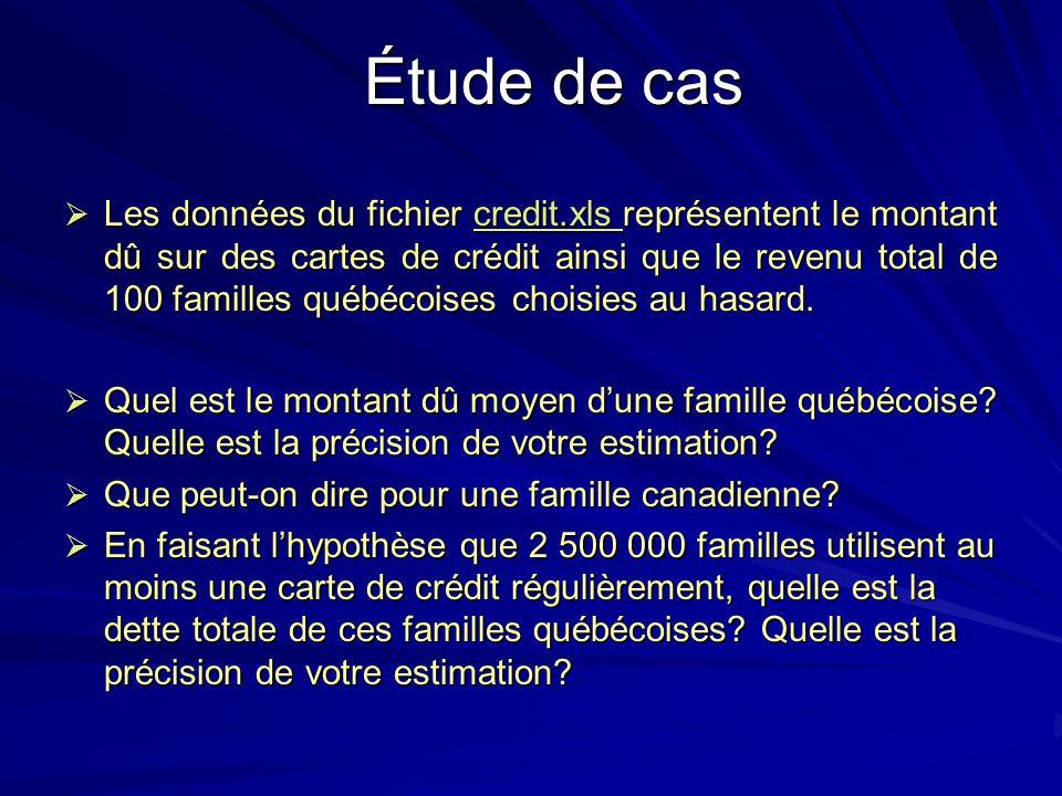 Étude de cas Les données du fichier credit.xls représentent le montant dû sur des cartes de crédit ainsi que le revenu total de 100 familles québécois