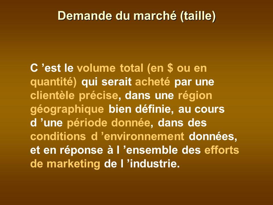 C est le volume total (en $ ou en quantité) qui serait acheté par une clientèle précise, dans une région géographique bien définie, au cours d une période donnée, dans des conditions d environnement données, et en réponse à l ensemble des efforts de marketing de l industrie.