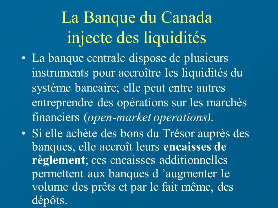 La Banque du Canada injecte des liquidités La banque centrale dispose de plusieurs instruments pour accroître les liquidités du système bancaire; elle