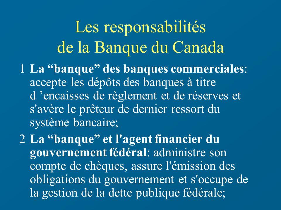 Les responsabilités de la Banque du Canada 1La banque des banques commerciales: accepte les dépôts des banques à titre d encaisses de règlement et de