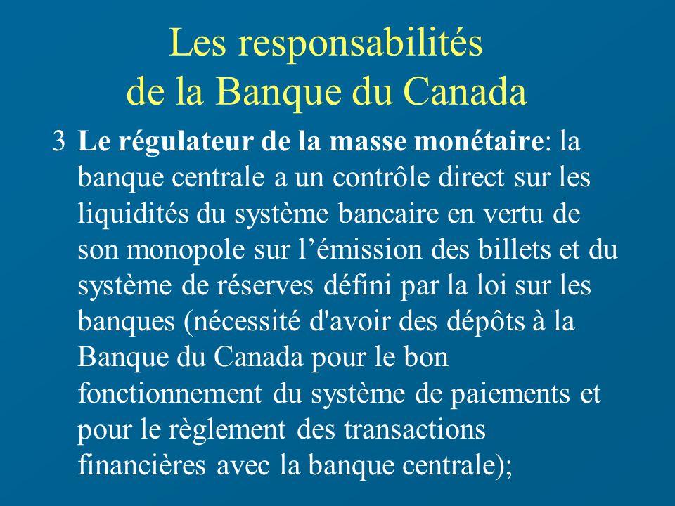 Les responsabilités de la Banque du Canada 3Le régulateur de la masse monétaire: la banque centrale a un contrôle direct sur les liquidités du système