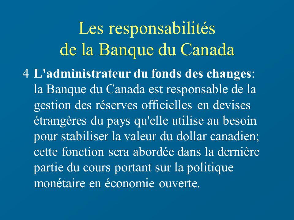 Les responsabilités de la Banque du Canada 4L'administrateur du fonds des changes: la Banque du Canada est responsable de la gestion des réserves offi