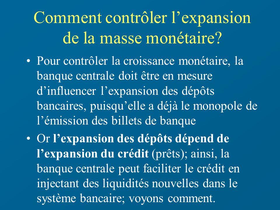 Comment contrôler lexpansion de la masse monétaire? Pour contrôler la croissance monétaire, la banque centrale doit être en mesure dinfluencer lexpans