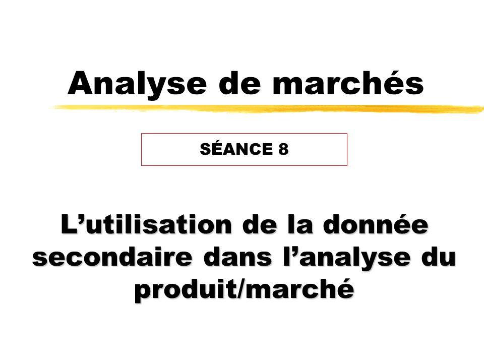 Analyse de marchés Lutilisation de la donnée secondaire dans lanalyse du produit/marché SÉANCE 8