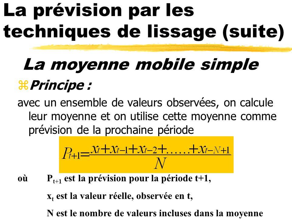 La moyenne mobile simple zPrincipe : avec un ensemble de valeurs observées, on calcule leur moyenne et on utilise cette moyenne comme prévision de la prochaine période oùP t+1 est la prévision pour la période t+1, x t est la valeur réelle, observée en t, N est le nombre de valeurs incluses dans la moyenne
