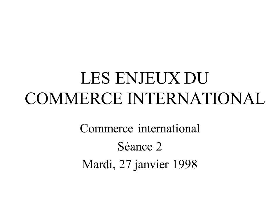 LES ENJEUX DU COMMERCE INTERNATIONAL Commerce international Séance 2 Mardi, 27 janvier 1998