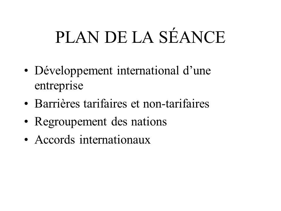 PLAN DE LA SÉANCE Développement international dune entreprise Barrières tarifaires et non-tarifaires Regroupement des nations Accords internationaux