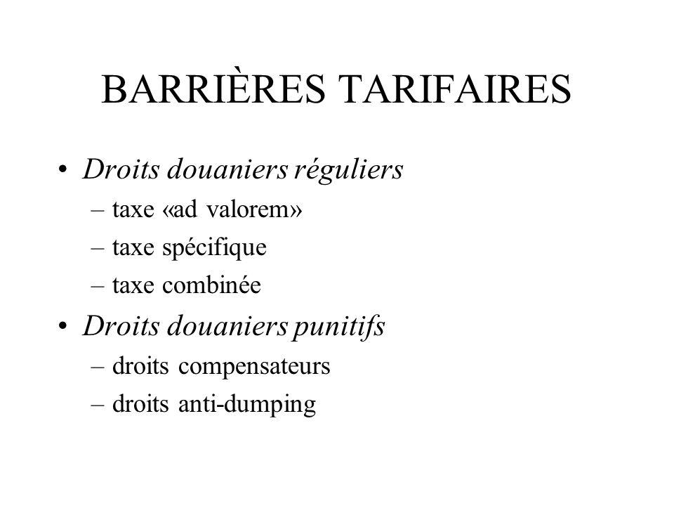 BARRIÈRES TARIFAIRES Droits douaniers réguliers –taxe «ad valorem» –taxe spécifique –taxe combinée Droits douaniers punitifs –droits compensateurs –dr