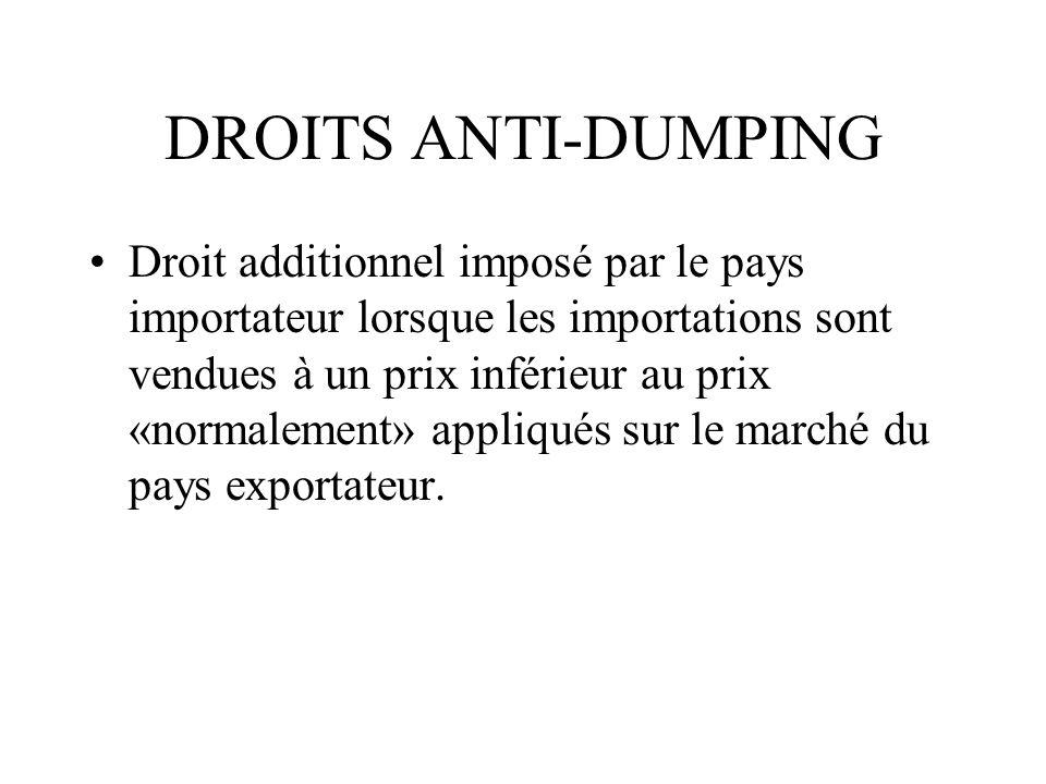 DROITS ANTI-DUMPING Droit additionnel imposé par le pays importateur lorsque les importations sont vendues à un prix inférieur au prix «normalement» a