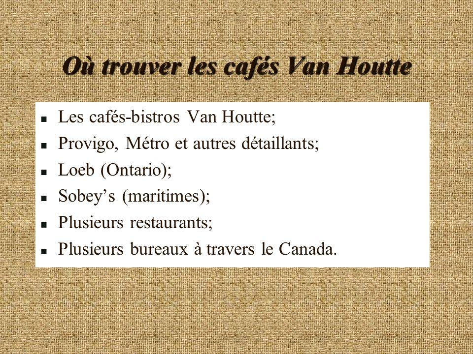 Où trouver les cafés Van Houtte n Les cafés-bistros Van Houtte; n Provigo, Métro et autres détaillants; n Loeb (Ontario); n Sobeys (maritimes); n Plus