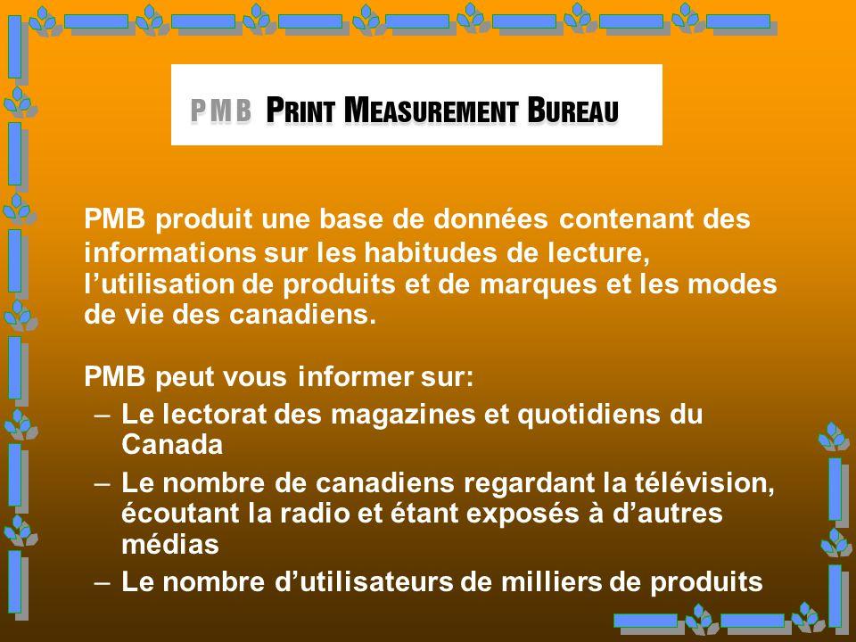 Organisme Canadien à but non lucratif qui diffuse de linformation sur : o Le lectorat des médias imprimés o Lexposition aux médias non imprimés o Luti