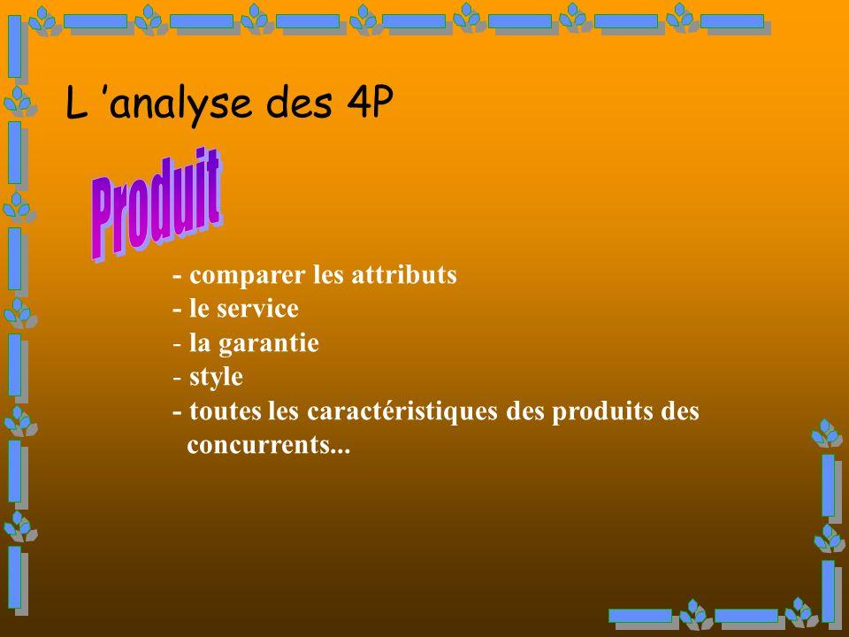 L analyse des 4P - comparer les attributs - le service - la garantie - style - toutes les caractéristiques des produits des concurrents...