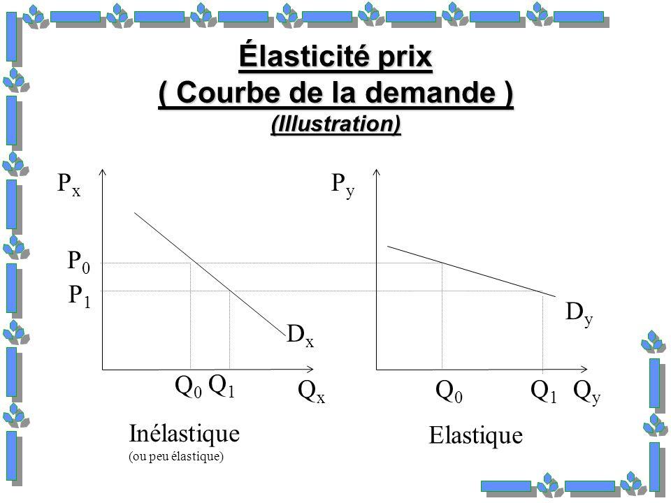 Élasticité prix ( Courbe de la demande ) (Illustration) PxPx P0P0 P1P1 QxQx DxDx Q0Q0 Q1Q1 Inélastique (ou peu élastique) PyPy QyQy DyDy Q0Q0 Q1Q1 Elastique