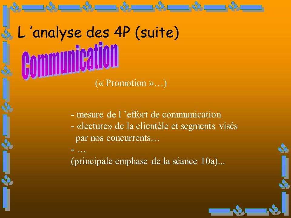 (« Promotion »…) - mesure de l effort de communication - «lecture» de la clientèle et segments visés par nos concurrents… - … (principale emphase de la séance 10a)...