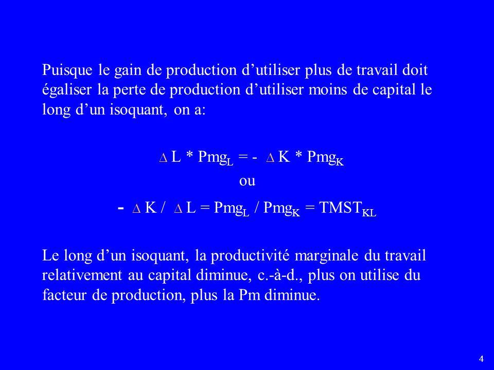 4 Puisque le gain de production dutiliser plus de travail doit égaliser la perte de production dutiliser moins de capital le long dun isoquant, on a: L * Pmg L = - K * Pmg K ou - K / L = Pmg L / Pmg K = TMST KL Le long dun isoquant, la productivité marginale du travail relativement au capital diminue, c.-à-d., plus on utilise du facteur de production, plus la Pm diminue.