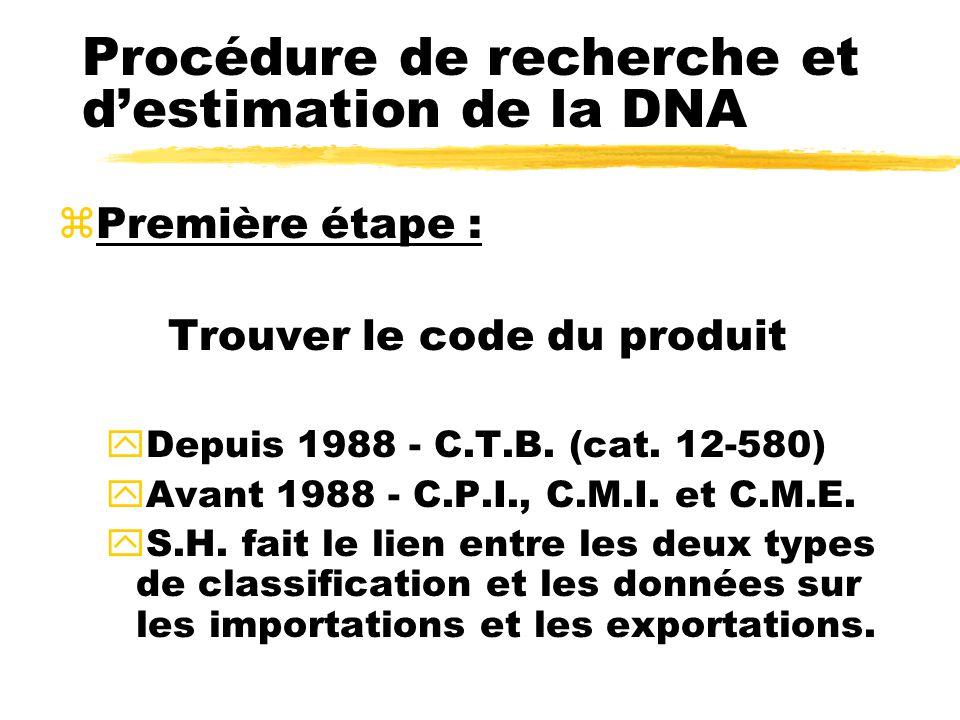 Procédure de recherche et destimation de la DNA zPremière étape : Trouver le code du produit yDepuis 1988 - C.T.B.