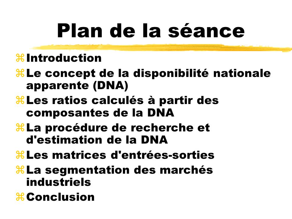 Plan de la séance zIntroduction zLe concept de la disponibilité nationale apparente (DNA) zLes ratios calculés à partir des composantes de la DNA zLa procédure de recherche et d estimation de la DNA zLes matrices d entrées-sorties zLa segmentation des marchés industriels zConclusion