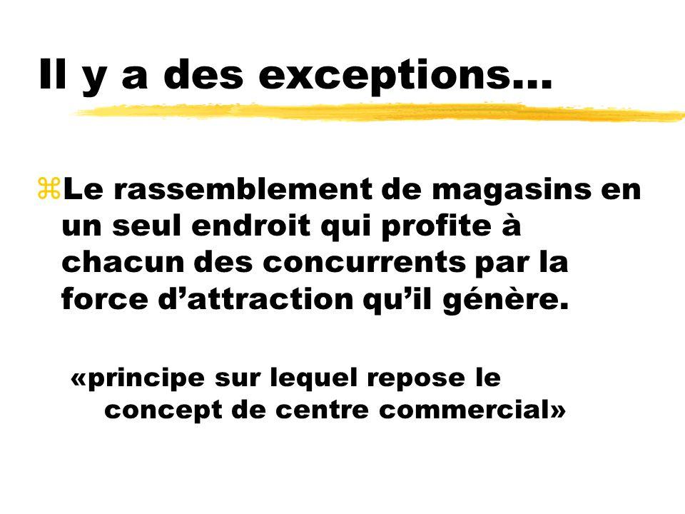 Il y a des exceptions... zLe rassemblement de magasins en un seul endroit qui profite à chacun des concurrents par la force dattraction quil génère. «