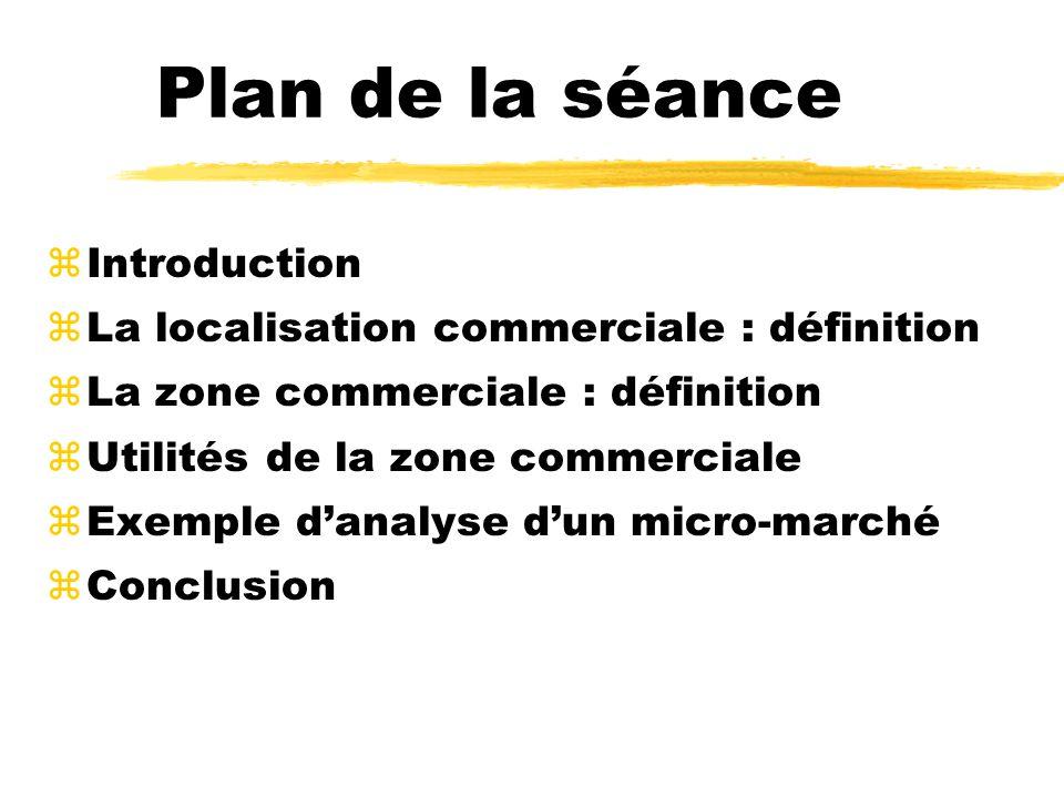 zIntroduction zLa localisation commerciale : définition zLa zone commerciale : définition zUtilités de la zone commerciale zExemple danalyse dun micro