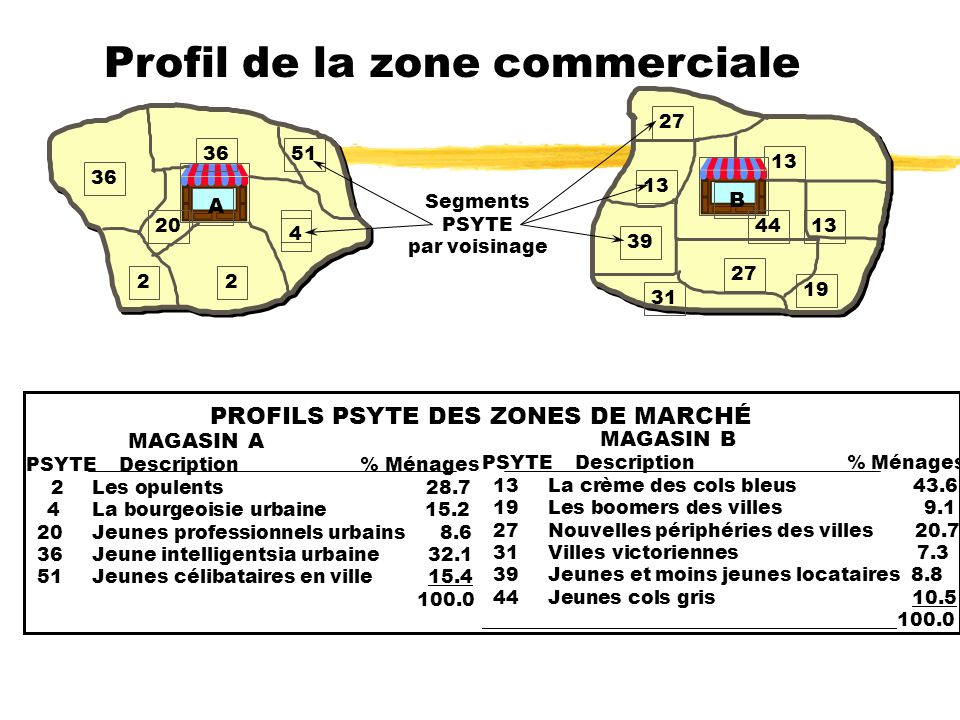 Profil de la zone commerciale A 2 4 2 20 36 51 B 13 27 44 39 13 31 19 Segments PSYTE par voisinage PROFILS PSYTE DES ZONES DE MARCHÉ MAGASIN A PSYTE D
