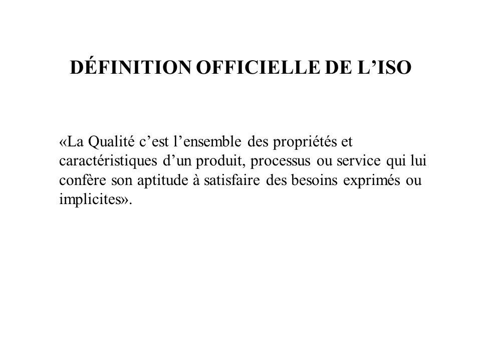 DÉFINITION OFFICIELLE DE LISO «La Qualité cest lensemble des propriétés et caractéristiques dun produit, processus ou service qui lui confère son apti
