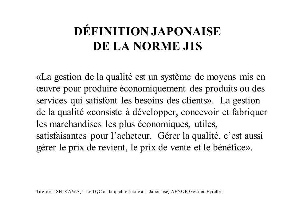 DÉFINITION JAPONAISE DE LA NORME J1S «La gestion de la qualité est un système de moyens mis en œuvre pour produire économiquement des produits ou des