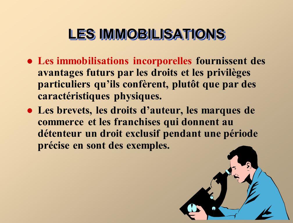 LES IMMOBILISATIONS Les immobilisations corporelles utilisées dans lexploitation dune entreprise et qui ne sont pas destinées à la vente sont classées