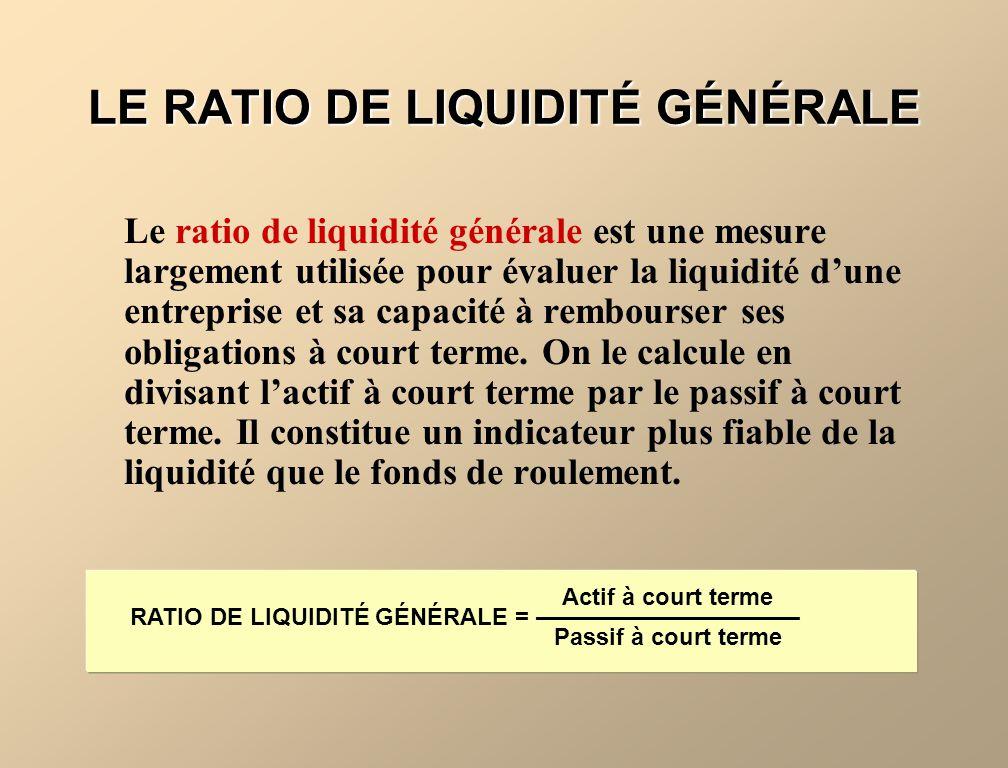 LA LIQUIDITÉ La liquidité représente la capacité dune entreprise à rembourser ses obligations à court terme devenant exigibles. Le fonds de roulement