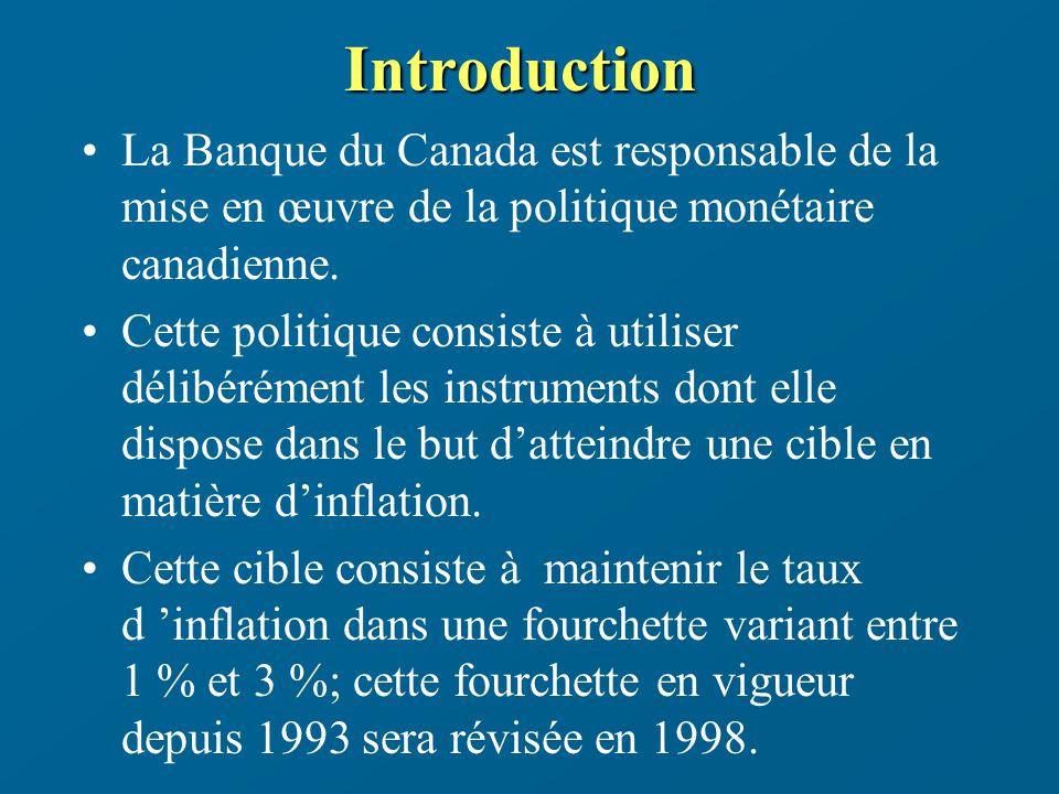 Le mécanisme de transmission de la politique monétaire (le cas d un assouplissement) 1) Les actions menées par la Banque du Canada diminuent non seulement le taux dintérêt à un jour mais elles impriment également un mouvement à la baisse pour lensemble des taux d intérêt à court terme et en particulier, le rendement des bons du Trésor à trois mois du gouvernement fédéral (marché monétaire).