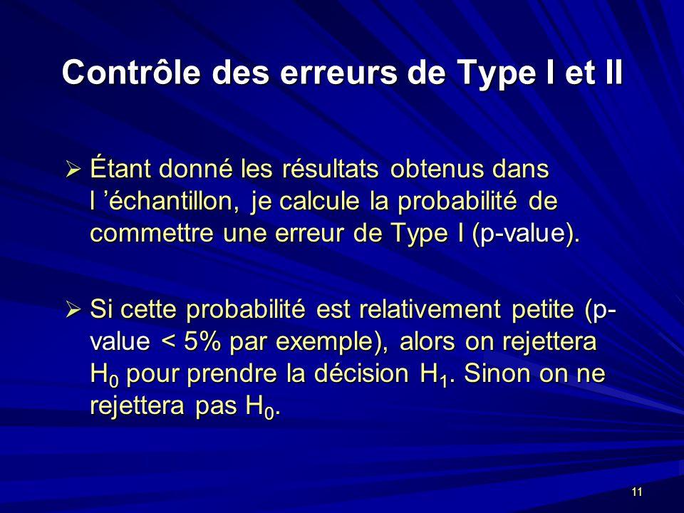 11 Contrôle des erreurs de Type I et II Étant donné les résultats obtenus dans l échantillon, je calcule la probabilité de commettre une erreur de Type I (p-value).