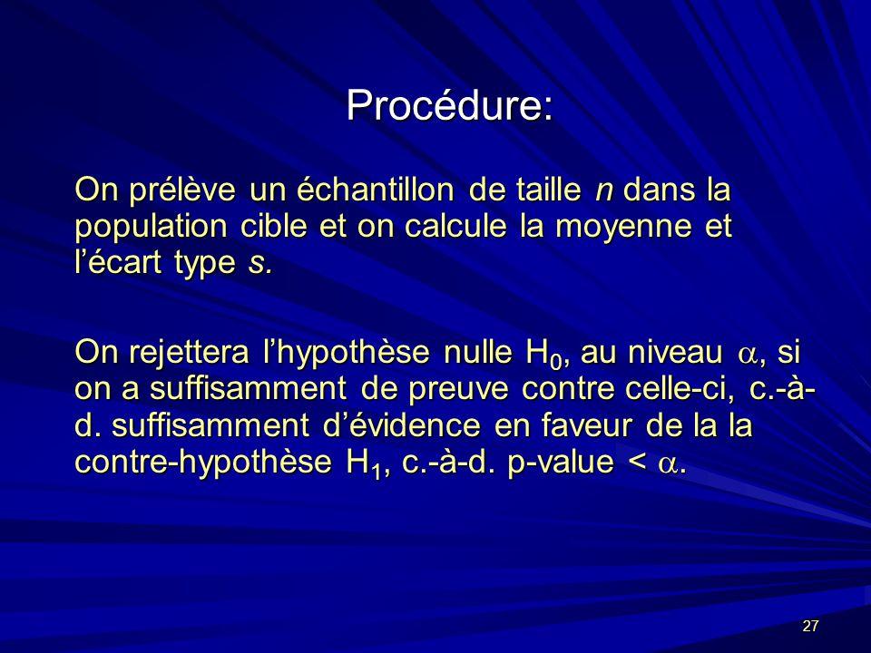 27 Procédure: On prélève un échantillon de taille n dans la population cible et on calcule la moyenne et lécart type s.