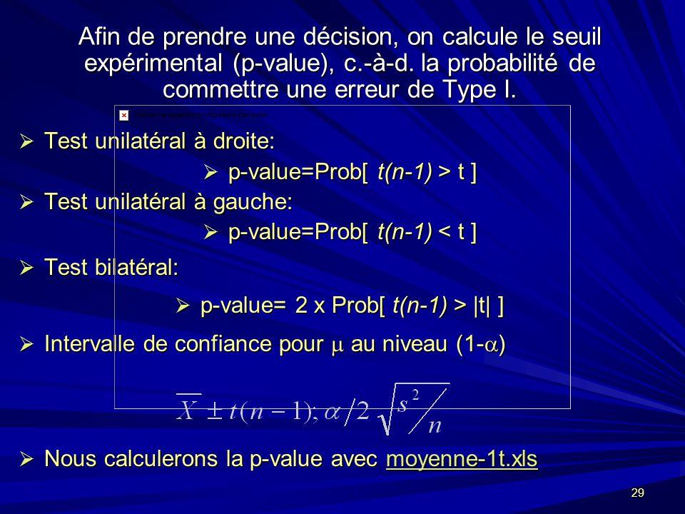 29 Afin de prendre une décision, on calcule le seuil expérimental (p-value), c.-à-d.
