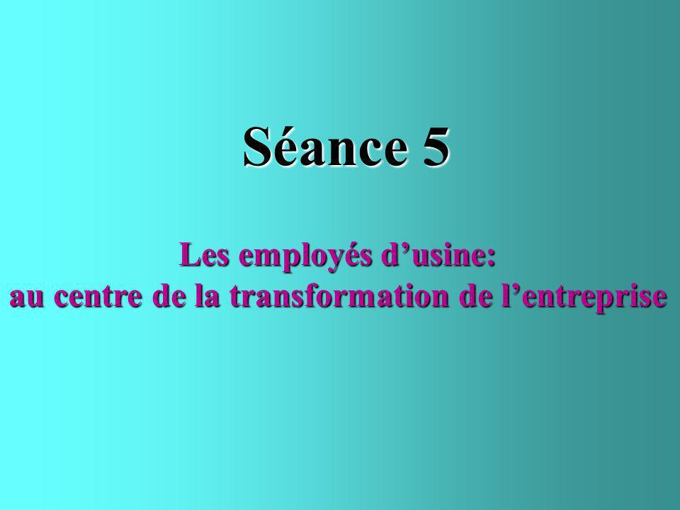 Séance 5 Les employés dusine: au centre de la transformation de lentreprise
