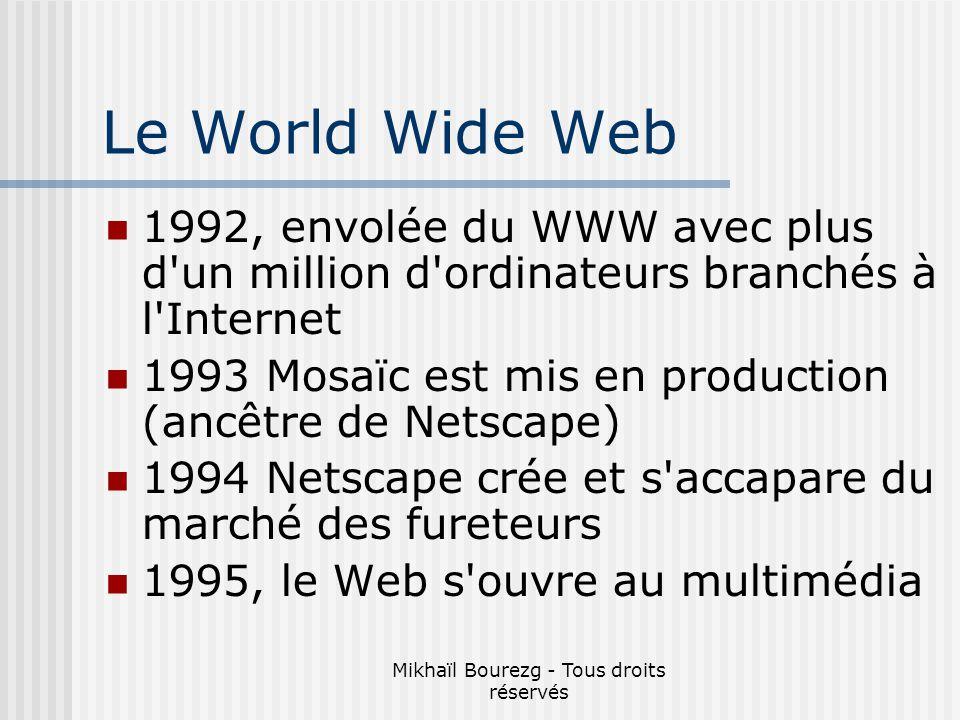 Mikhaïl Bourezg - Tous droits réservés Le World Wide Web 1992, envolée du WWW avec plus d un million d ordinateurs branchés à l Internet 1993 Mosaïc est mis en production (ancêtre de Netscape) 1994 Netscape crée et s accapare du marché des fureteurs 1995, le Web s ouvre au multimédia