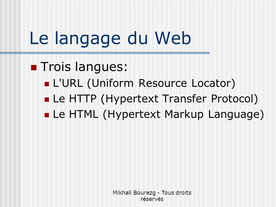 Mikhaïl Bourezg - Tous droits réservés Le langage du Web Trois langues: L URL (Uniform Resource Locator) Le HTTP (Hypertext Transfer Protocol) Le HTML (Hypertext Markup Language)